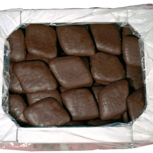 Dark cocoa Mostaccioli, in bulk packaging